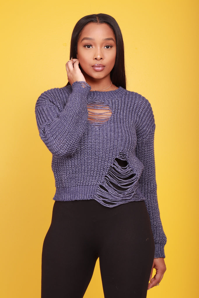 No Profit Distressed Sweater - Navy - Swank A Posh