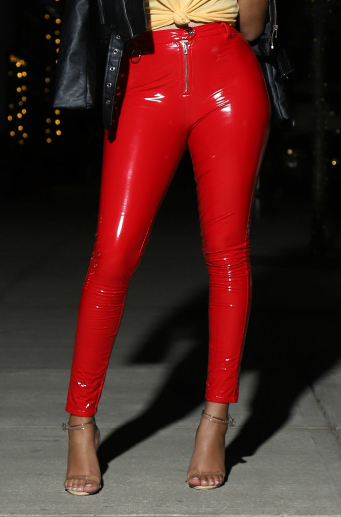 Red Engine Latex Pants - Swank A Posh