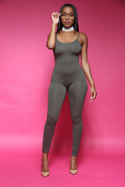 Back Down Olive Cami Jumpsuit