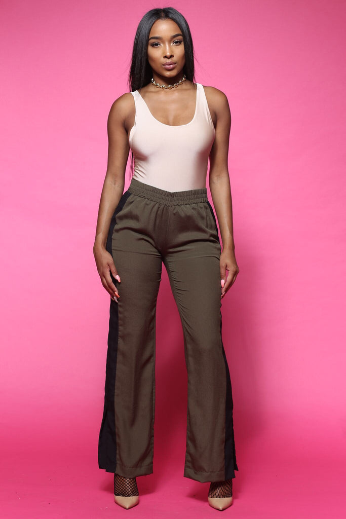 The Middle Olive Stripe Wide Leg Trousers