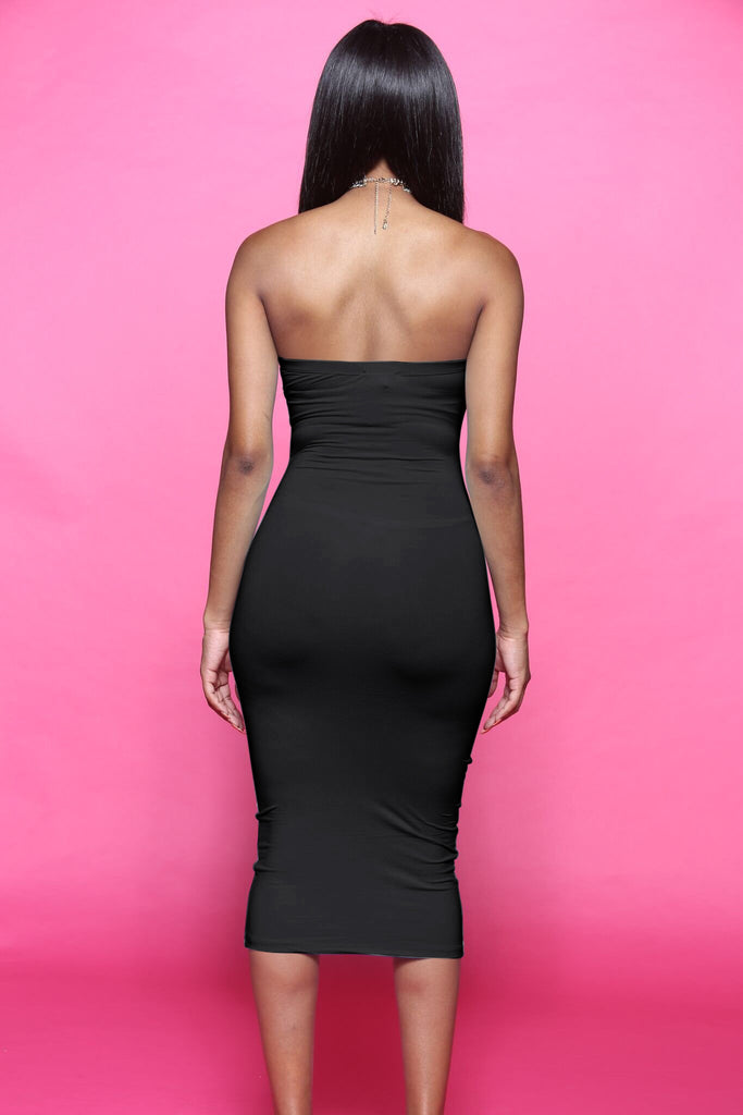 Blunt Midi Tube Dress - Black - Swank A Posh