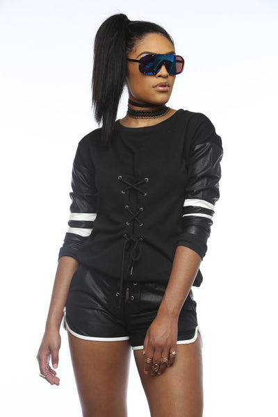 Pose Faux Leather Short And Sweater Set