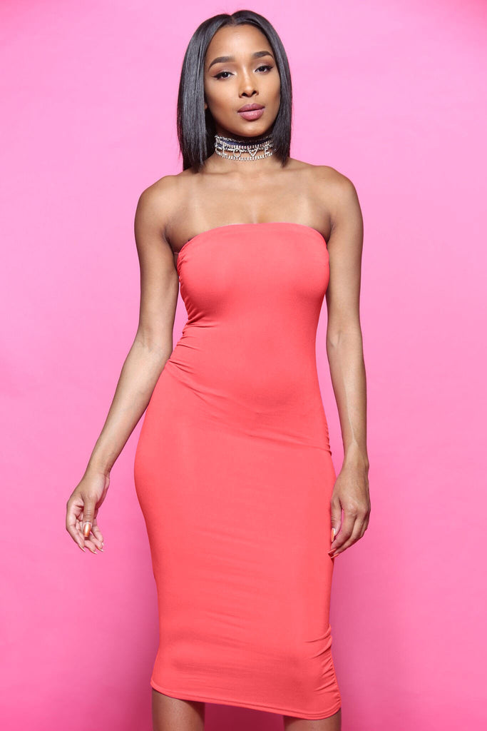 Blunt Midi Tube Dress - Coral - Swank A Posh