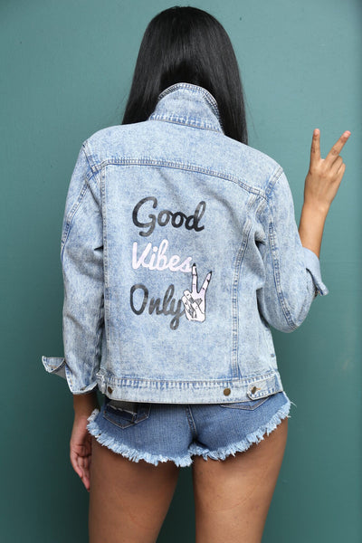 "Karma Printed Denim Jacket ""Good Vibes Only"""