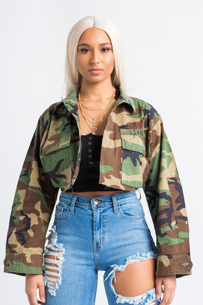 Vintage Camouflage Cropped Jacket - Swank A Posh