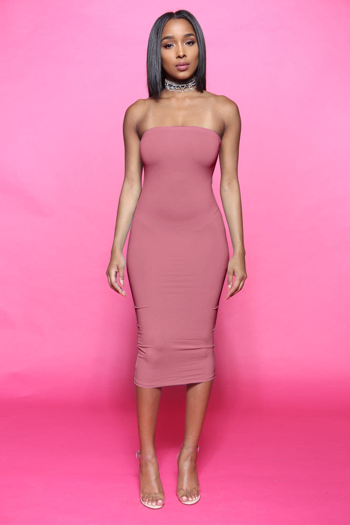 Blunt Midi Tube Dress - Dark Mauve - Swank A Posh