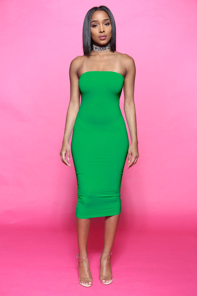 Blunt Midi Tube Dress - Green - Swank A Posh