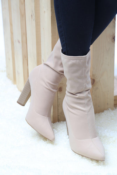 Feedback Nude Lycra Ankle Boot