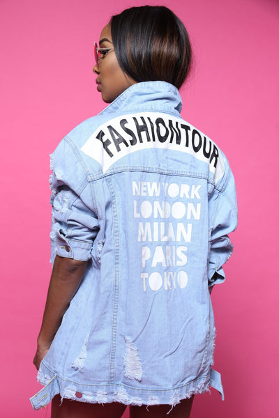 Fashion Tour Printed Oversized Denim Jacket