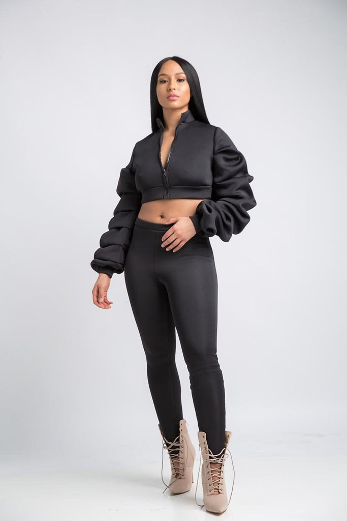 Extreme Ruffled Sleeve Set - Black - Swank A Posh