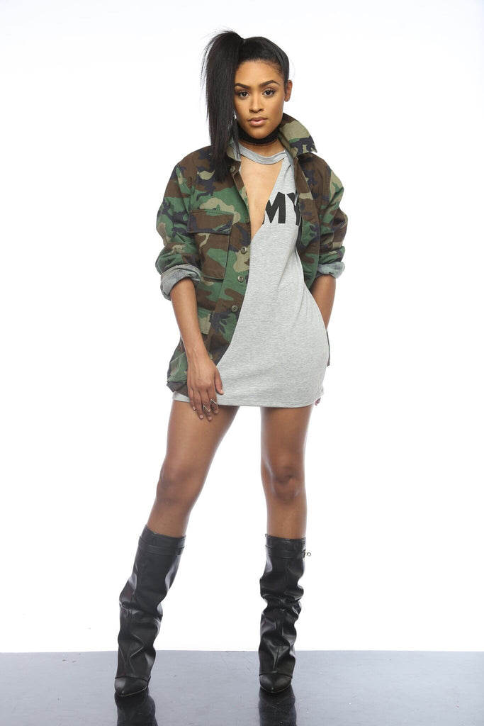 Served Vintage Camo Jacket ONE SIZE - Swank A Posh