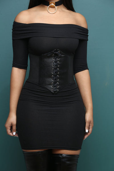 Laced Black Faux Leather Corset