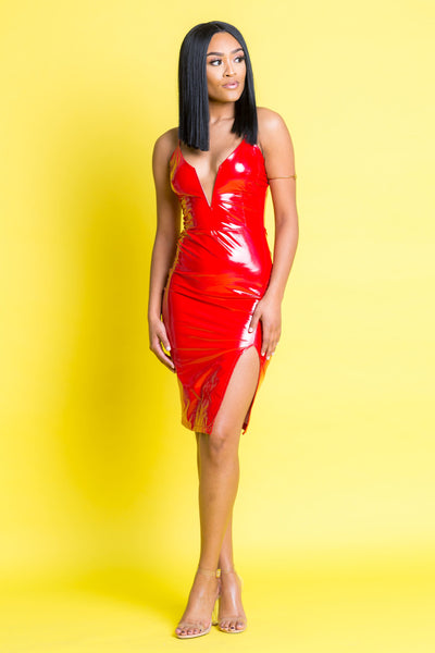 Gimmie Some Red Latex Dress - Swank A Posh