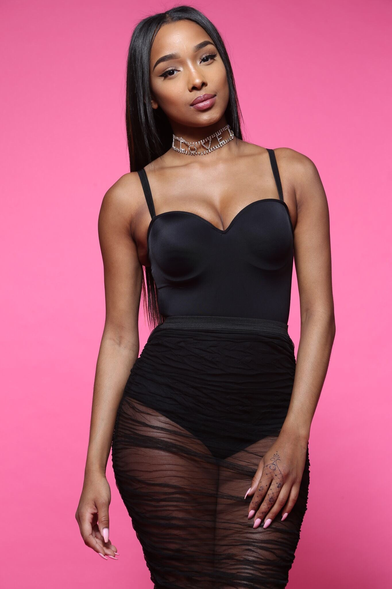 Doctored Black Form Bodysuit - Swank A Posh