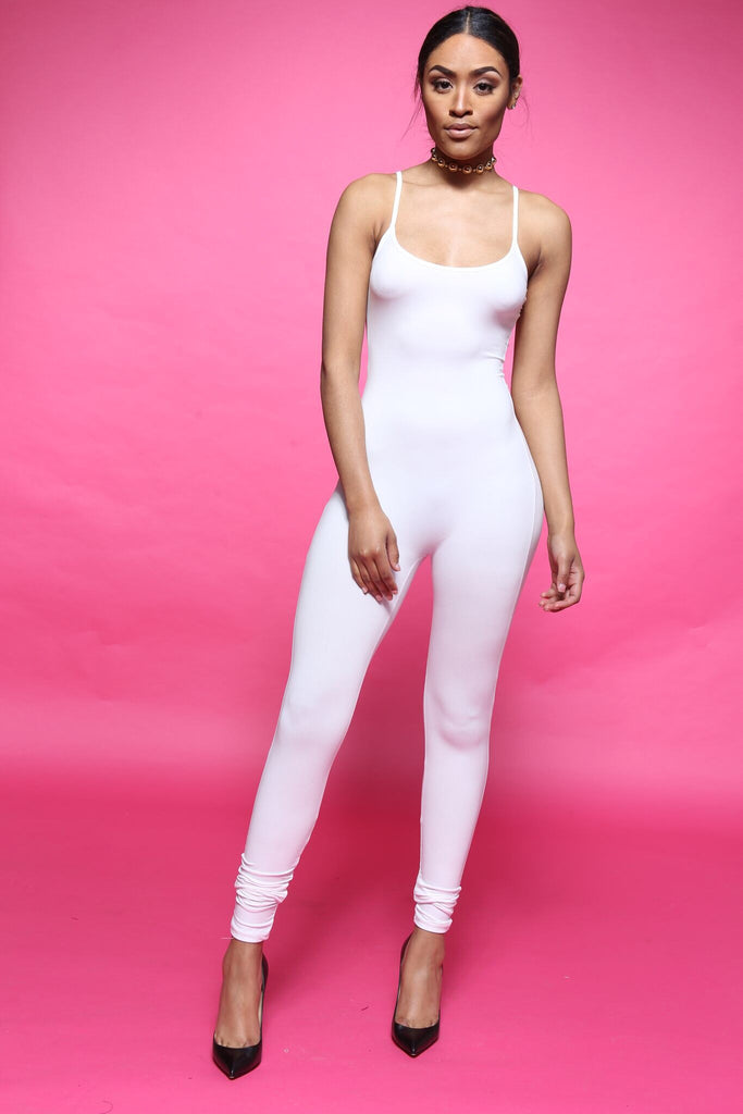 Back Down White Cami Jumpsuit