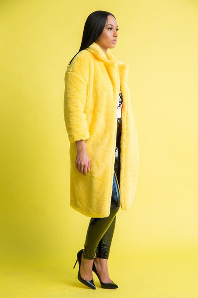 Yellow Faux Fur Coat With Collar - Swank A Posh