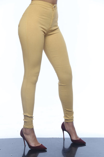 SUPERGA HIGH WAIST PANTS - MUSTARD