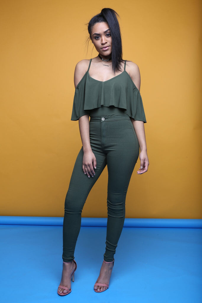 Drifted Away Olive Bodysuit
