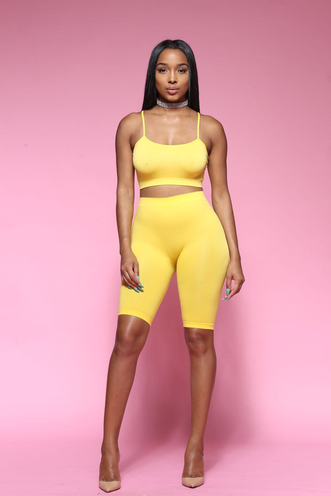 Popular and Cute Biker Short Set Yellow ONE SIZE II - Swank A Posh