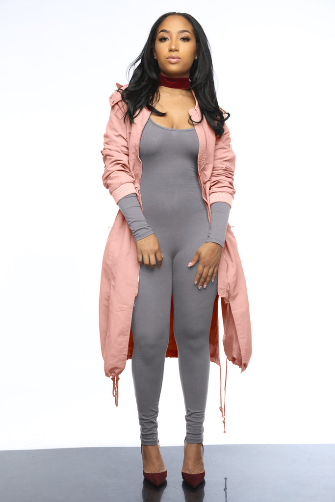 Not Your Average Bomber Jacket - Dust Pink - Swank A Posh