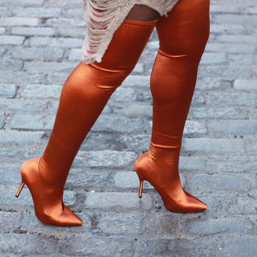 Serious Statement Stretchy Thigh High Boots - Swank A Posh