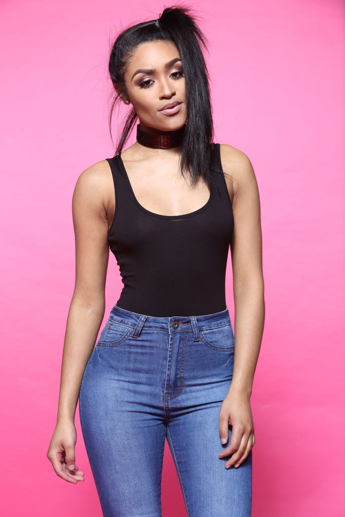 The Key Black Scoop Neck Bodysuit