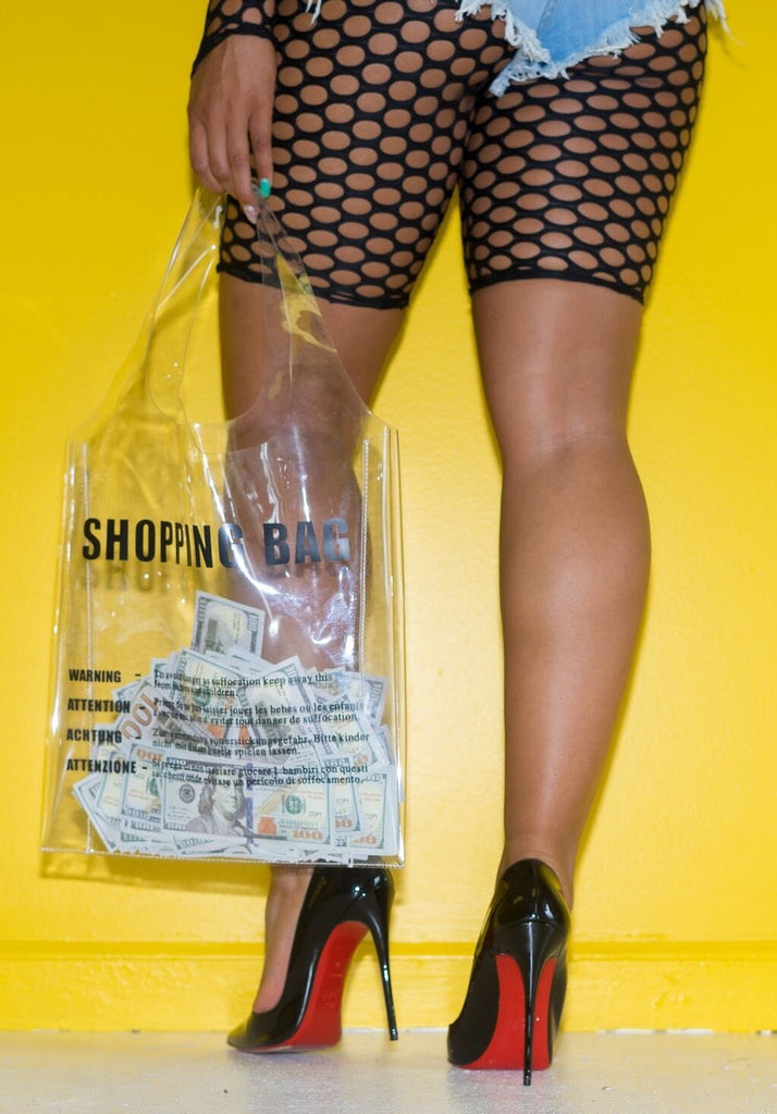 "Transparent ""Logo"" Shopping Bag - Swank A Posh"