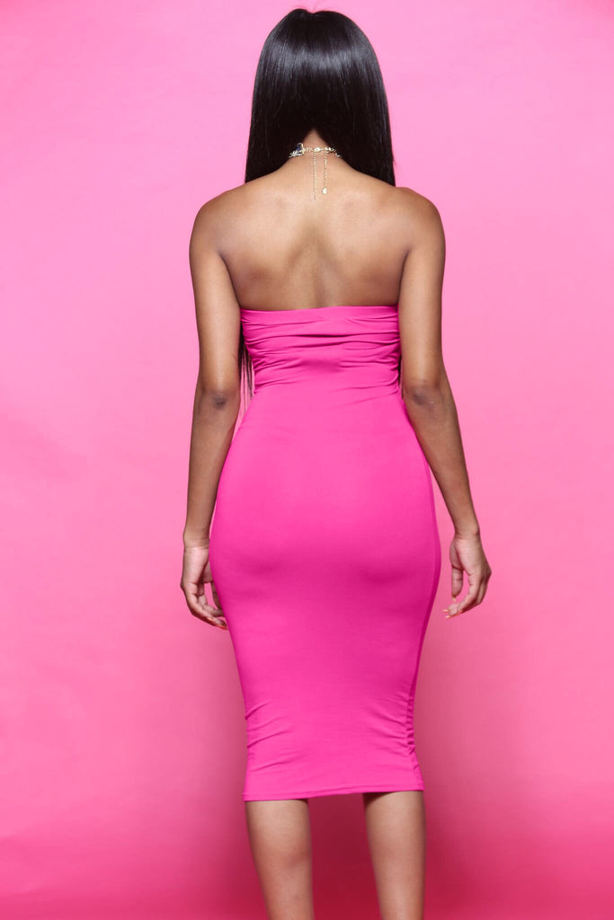 Blunt Midi Tube Dress - Fuchsia - Swank A Posh