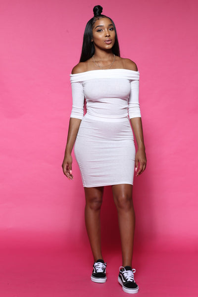 Prime Time Ribbed White Two Piece Set