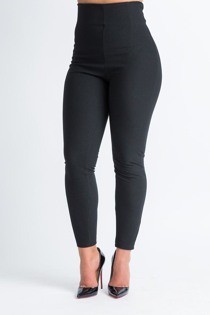 Hour Glass Waist Cinching Black Pants - Swank A Posh