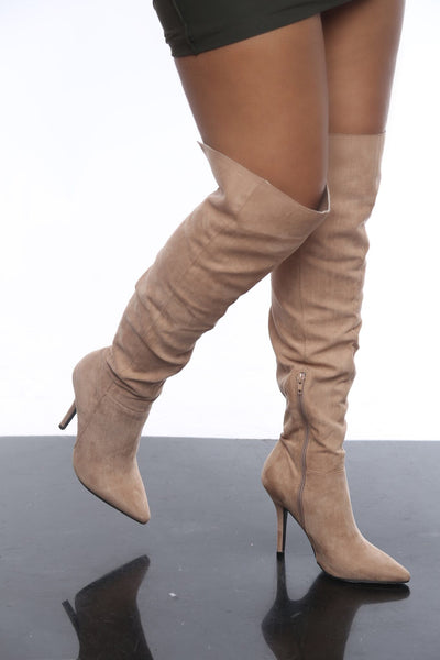 Victoria Taupe Thigh High Boots
