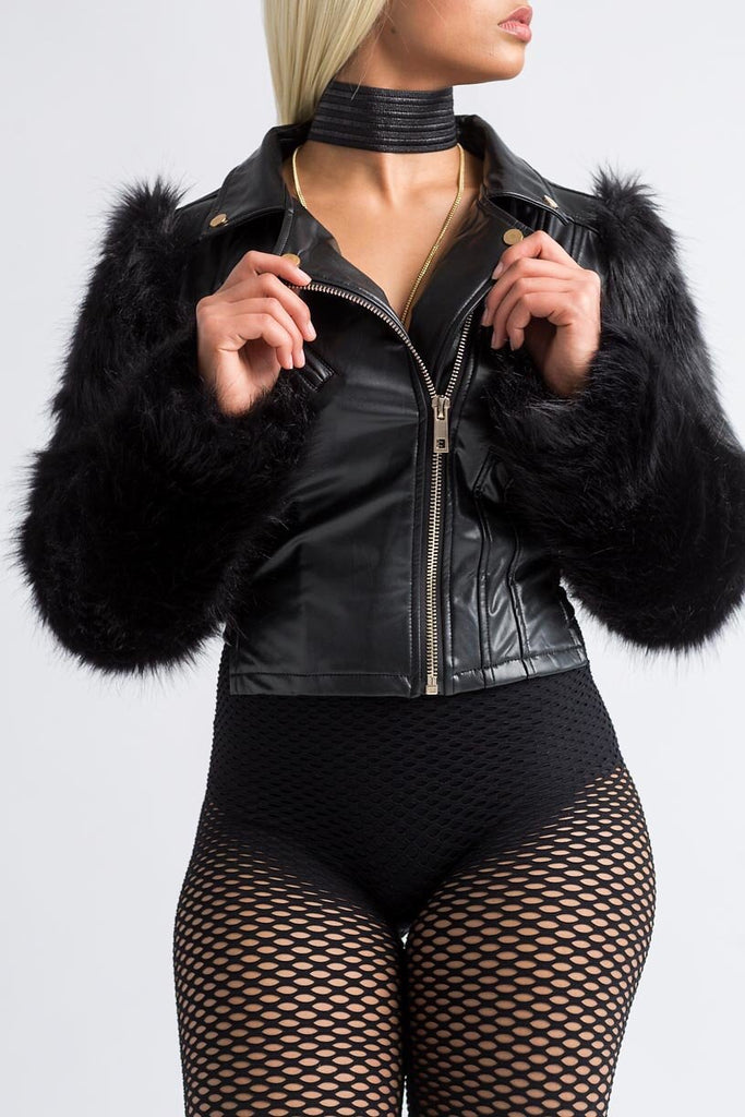 The Kit Black Faux Fur Sleeve Biker Jacket - Swank A Posh