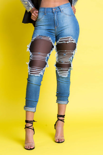 Seeing Double Distressed High Rise Jeans - Swank A Posh
