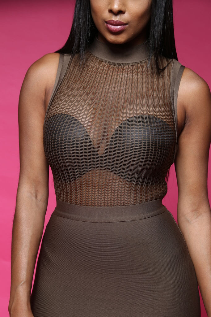 Sheer Thing Knit Bodysuit - Olive