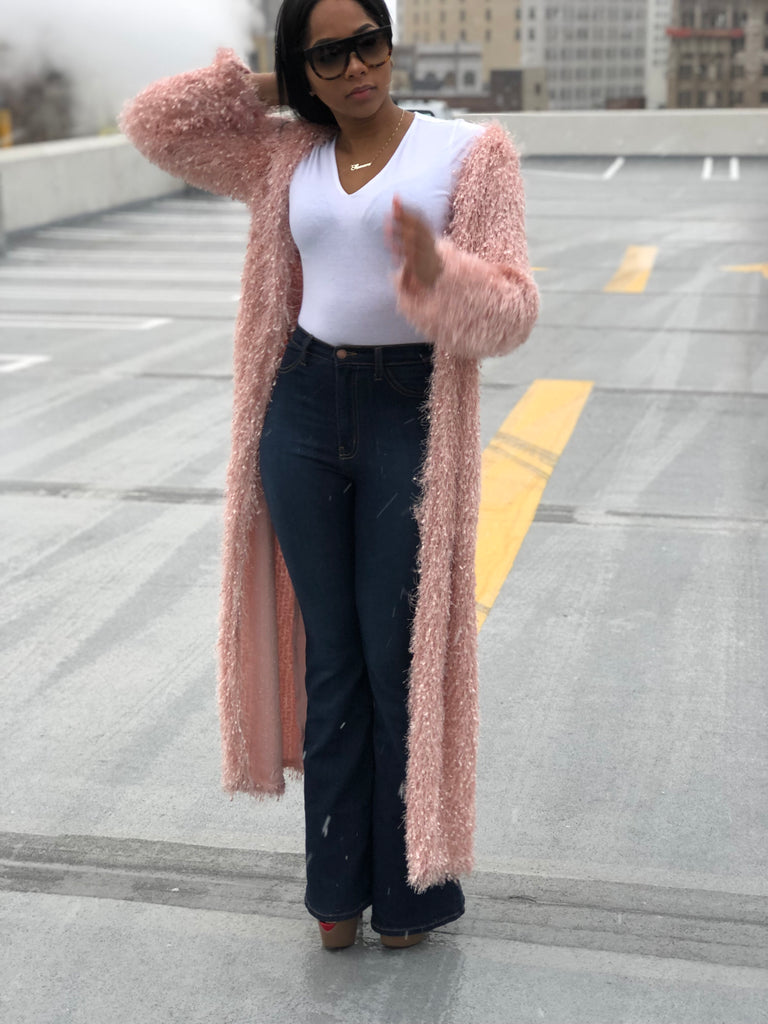 Graceful Textured Fuzzy Longline Cardigan - Swank A Posh