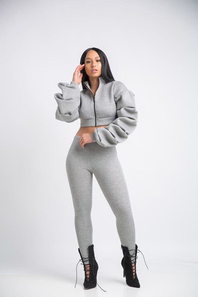 Extreme Ruffled Sleeve Set - Grey - Swank A Posh