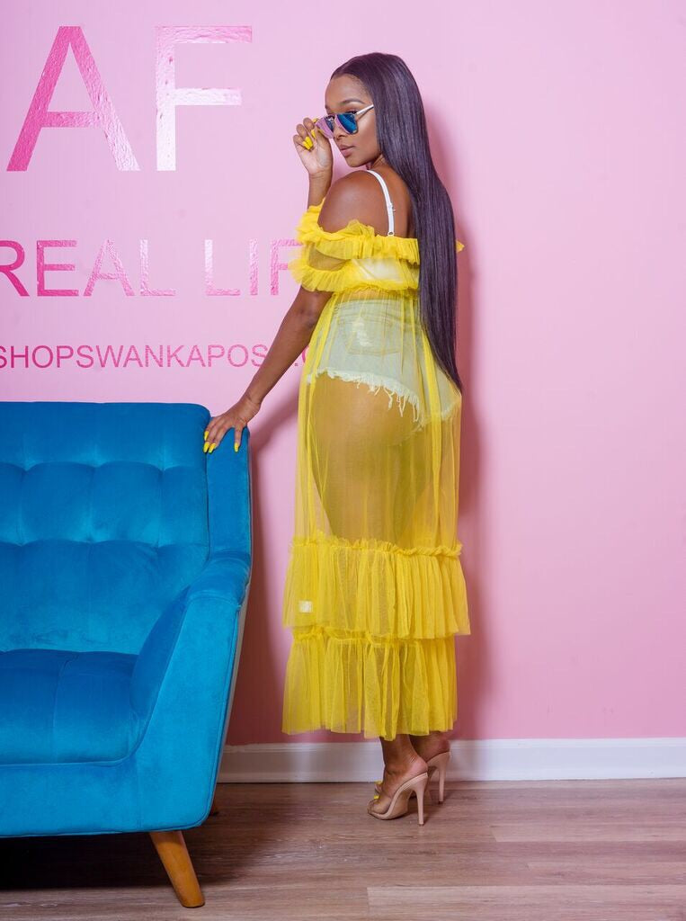 Sunshine Yellow Sheer Maxi Dress - Swank A Posh