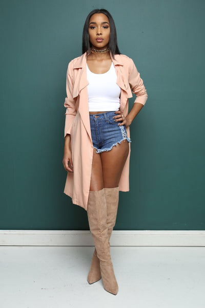 Brooklyn Peach Longline Duster