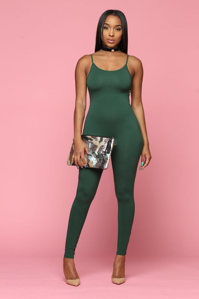 Tonight Full Cami Jumpsuit - Forest Green