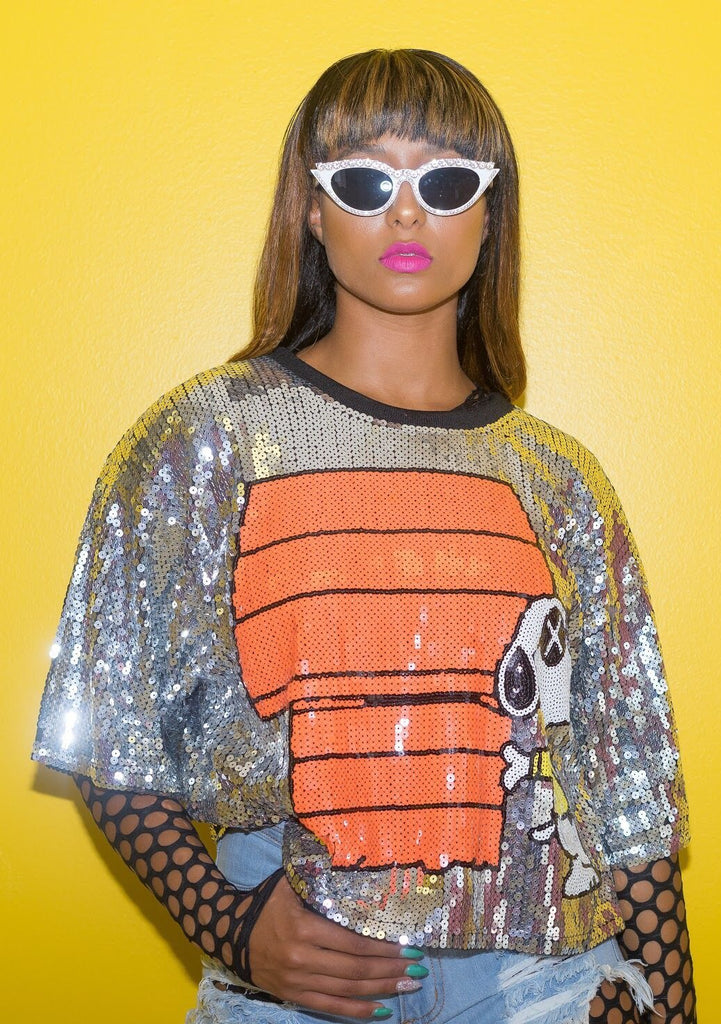Snoopy Sequin Shirt - Swank A Posh