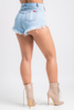Talk Back Light Denim Distressed Shorts - Swank A Posh