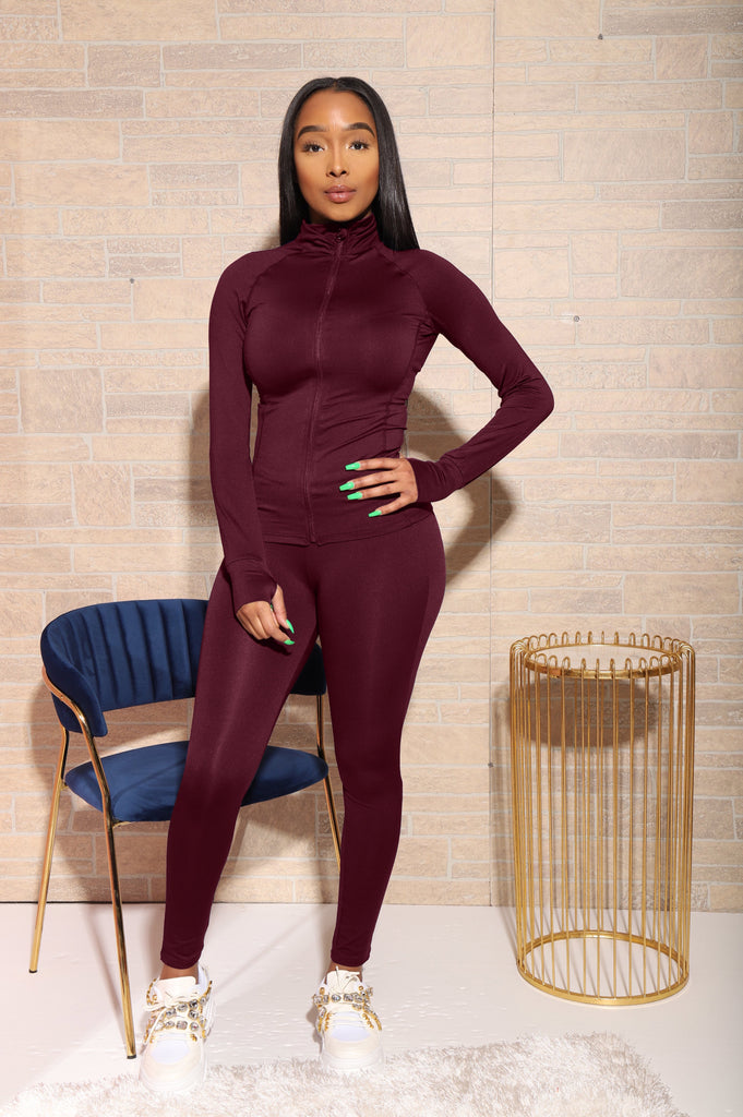 Easy Fit Athletic Set - Burgundy - Swank A Posh