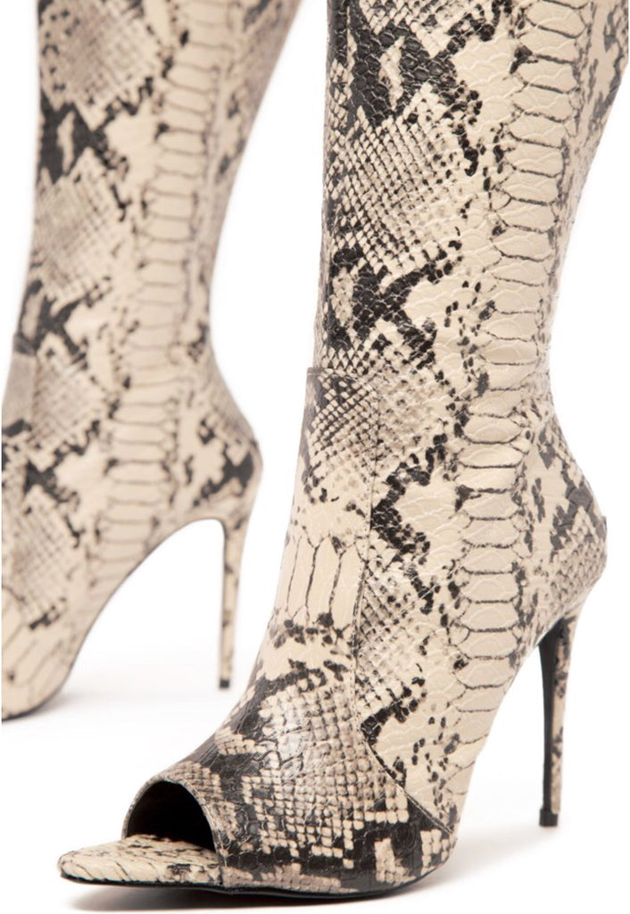 Lisa Over The Knee Snakeskin Boot - Swank A Posh