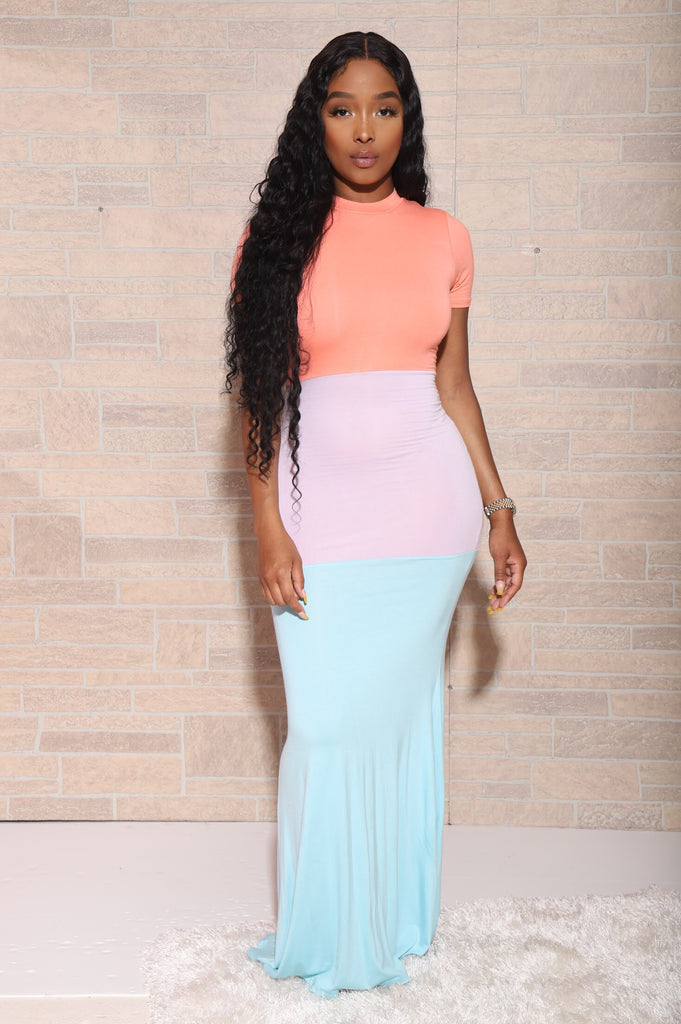 Like Button Tri-Color Maxi Dress - Teal - Swank A Posh