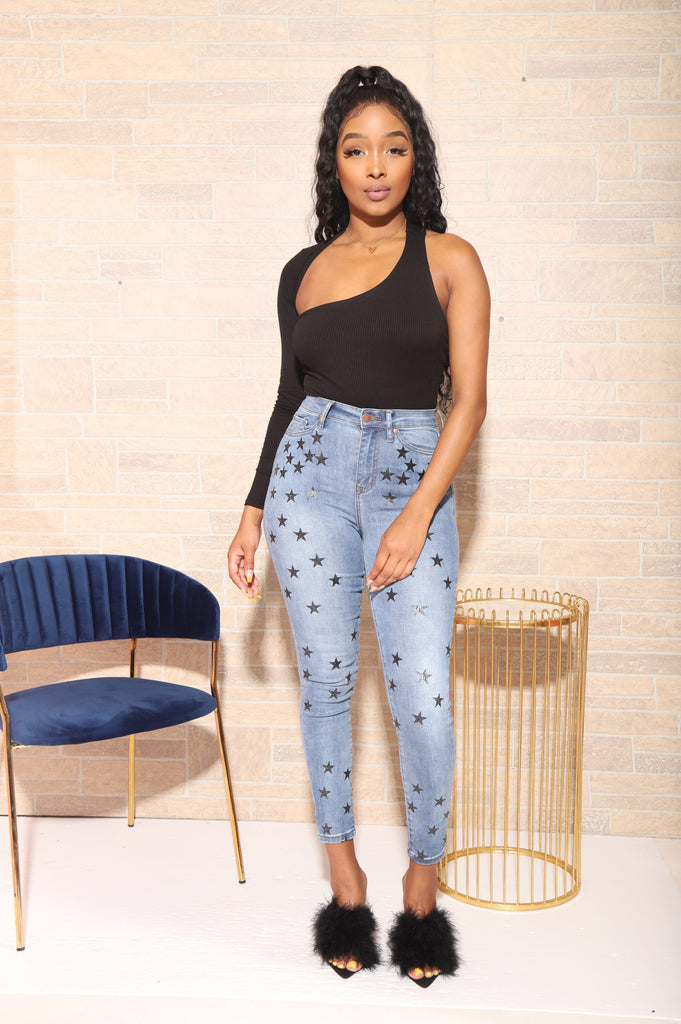 Stars High Waisted Jeans - Swank A Posh