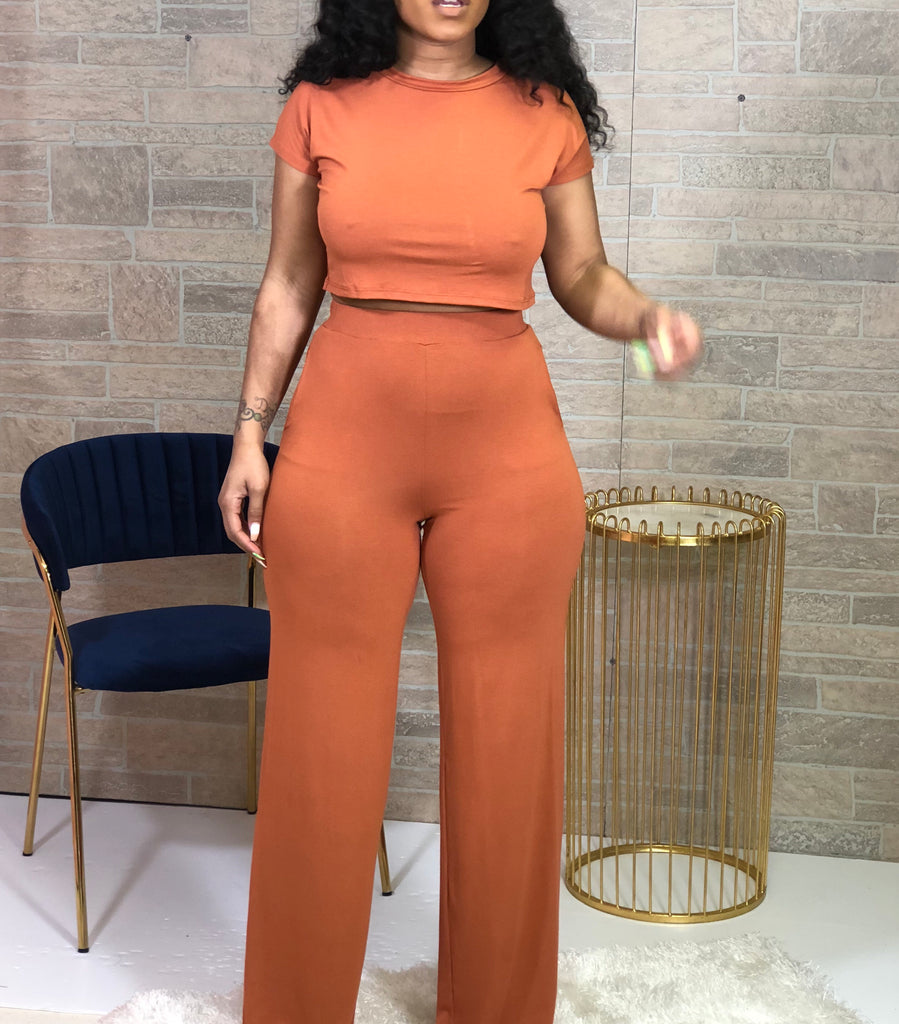 Serious Chills Pants Set- Rust - Swank A Posh