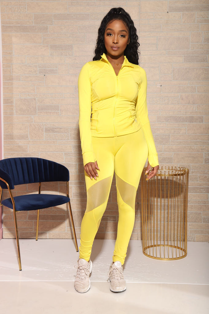 Do It Better Mesh Athletic Set - Yellow - Swank A Posh