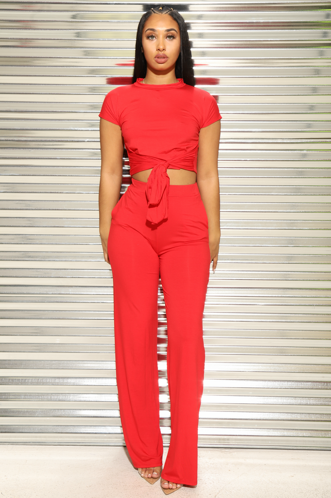 Break Up Flare Pants Set - Red - Swank A Posh