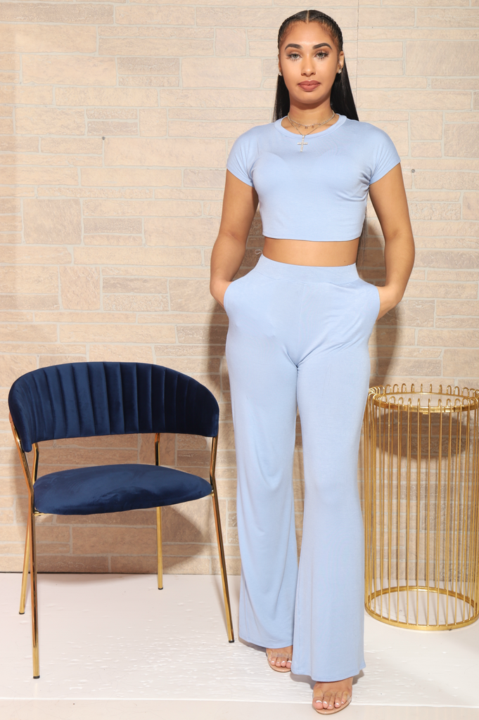 Serious Chills Pants Set - Powder Blue - Swank A Posh