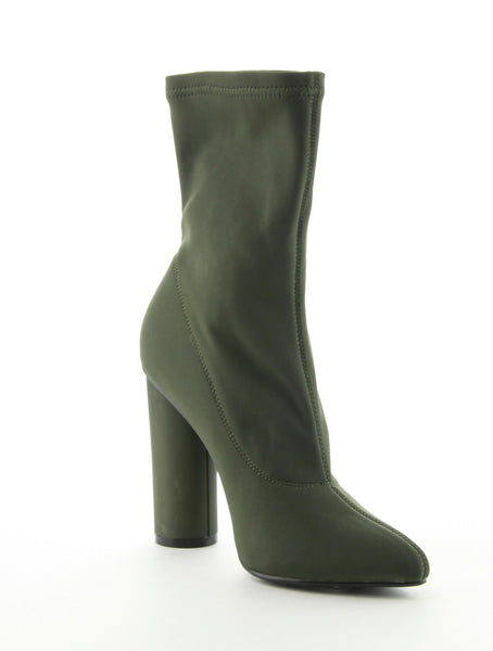 Feedback Olive Lycra Ankle Boot